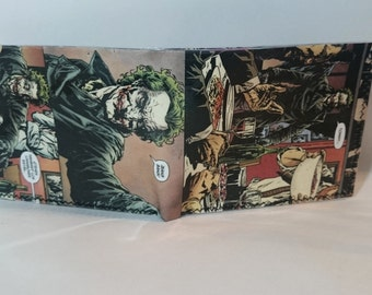 joker 1- recycled comic book wallet - slim wallet - hanmade wallet - card holder - thin wallet - vinyl wallet - men's wallet