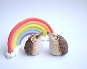 Hedgehog Wedding Cake Topper (With or Without Rainbow)