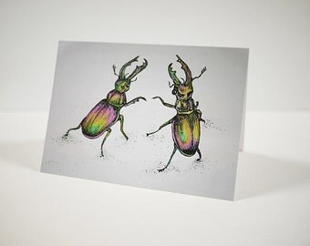 Rainbow Stag Beetle Card