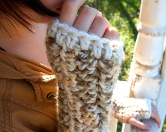 Crochet tri brown, gold, and cream, neutral colored gloves