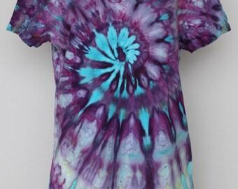 Tie Dye tee shirt, ice dyed, v neck shirt - size XXL - Helen's Iris Patch twist