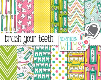 """Dentist Digital Paper - """"Brush Your Teeth"""" - dental hygiene seamless patterns with teeth, toothbrushes, and floss - commercial use OK"""