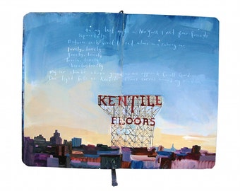 "Fine Art Print - Original New York Cityscape Painting from Artist Travel Journal - ""Brooklyn's Kentile Floors"""