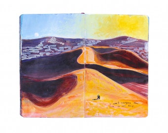 "Fine Art Print of Moroccan Landscape Painting from Artist Travel Journal – ""Erg Chebbi Dunes"""