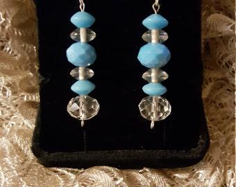 Handmade Blue Glass Bead Earrings