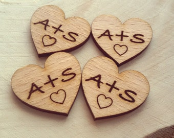 100 custom initials Wood Hearts 2.5 cm - Rustic Wedding