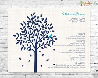 PERSONALIZED GODSON GIFT, Baptism Gift for Godson, Baby Boy Baptism Personalized Baptism Gift, Christening Dedication, Baptism Tree Keepsake