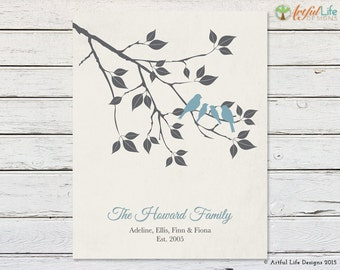 Personalized Wedding Gift, Housewarming Gift, Anniversary Gift, Family Tree Wall Art Print, Love Bird Family on Tree Branch Name Sign Print