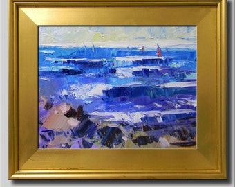 Plein Air Landscape Painting, Impressionist Oil Painting, Seascape, Water Painting, Sailboat Painting, Abstract Boat Painting