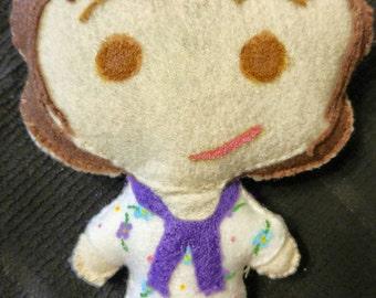 Elizabeth Bennet, Pride and Prejudice 8 Inch Felt Hand Sewn Doll- Made to Order