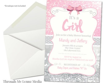baby shower invitation pink and silver baby shower digital print