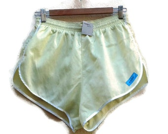 80 RUNNING GYMSHORTS Pastel Yellow Satin 1980s VINTAGE Gym Shorts Festival wear Clubwear Silky Retrosport RollerSkate Also xs xxs available!