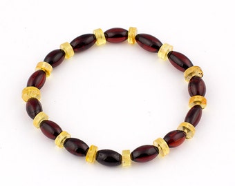 Natural Baltic Amber Adult Bracelet With Oval Shape Beads