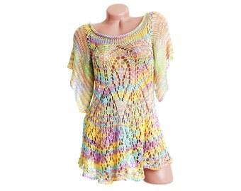 See through blouse, Transparent summer blouse, Thin womens top, Elegant summer top, Knit crochet top, See through top, Womens knit blouse