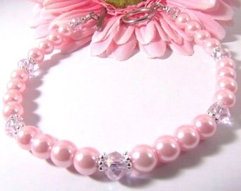 Pink Pearls With Daisy Spacers and Pink Crystals