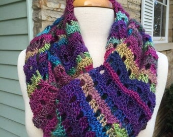 Hand crochet Infinity Scarf Multi color