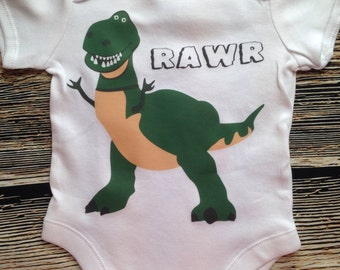 Dinosaur - Rex Baby Romper Rawr Baby grow, Baby Romper  Onepiece