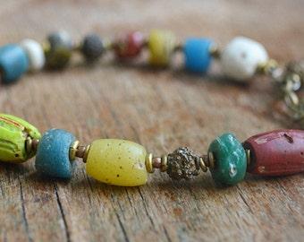 Trade bead bracelet with Kyanite and Yoruba brass