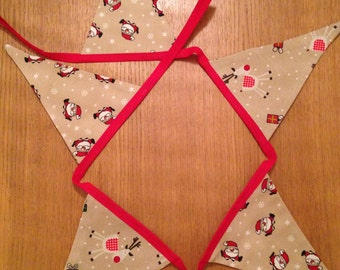 Christmas bunting 5 flags, Santa and rudolph bunting, Christmas in July, Christmas banner,