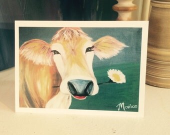 """Happy cow card 5""""x7"""", colourful greeting card"""