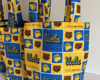 UCLA Custom Birthday Party Bags, UCLA Tote Bags,  Reusable Gift Bags, Kids Party Favor Bags, Cloth Favor Bags for Kids, Fabric Favor Bags