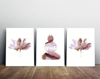 Buddha art lotus watercolor - Giclee Prints lilac purple brown lotus art - Buddha watercolor  Flower painting - Buddhism Meditation room art