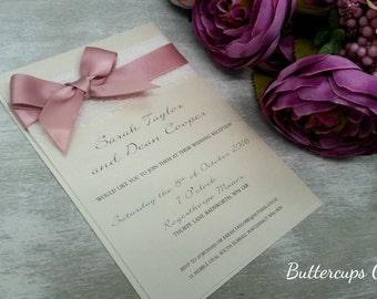 Blush pink and ivory invitation, lacey wedding invitation, vintage wedding invitation, pink invitation, dusky pink and ivory wedding