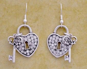 Heart Lock and Key Earrings - 57295