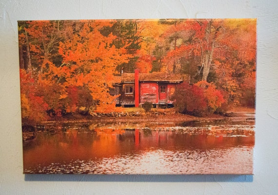 Fall New England Scene Tucker Pond Original Photograph and Canvas