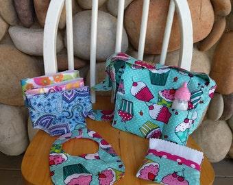 Blue and Pink Cupcake Pretend Diaper Bag,Pink Doll Diaper Bag,Pink Dot Baby Doll Diaper Bag,Polka dot Diaper Bag,Pretend Diapers and Wipes