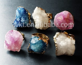 WT-R108 New!! Natural druzy crystal quartz rings in 24k gold plated,natural rough crystal quartz druzy rings in randomly