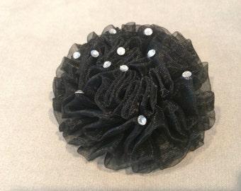 Black Chiffon Flower with Rhinestones on a Partially Lined Alligator Hair Clip, Flower Hair Clip, Rhinestone Hair Clip