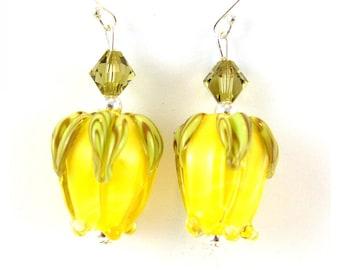 Yellow Rosebud Handmade Lampwork Glass Sterling Silver Earrings