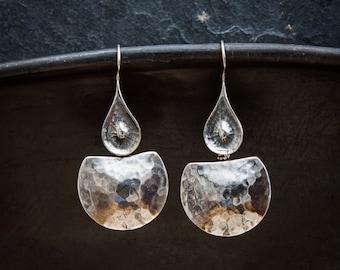 Silver Earrings, Hammered Earrings, Beaten Earrings, Sterling Silver Drop Earrings, Statement Earrings, Unique Earrings