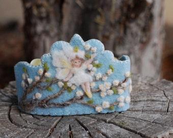 Felt Crown , Birthday Crown, Waldorf Crown - Almond Tree Fairy