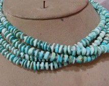 1 Strand Turquoise Arizona USA. natural Rough    beads 14''. 15, grams. 5X7. MM