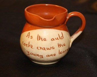 "Vintage  Mini Creamer Pitcher ""As the Auld Cock Craws the Young One Learns"""