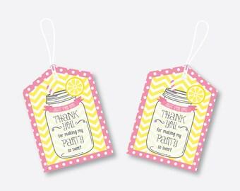 Instant Download, Pink Lemonade Stand Favor Tags, Lemonade Thank You Tags, Pink Gift Tags, Lemonade Gift Tags, Lemonade Printable (SKB.37)
