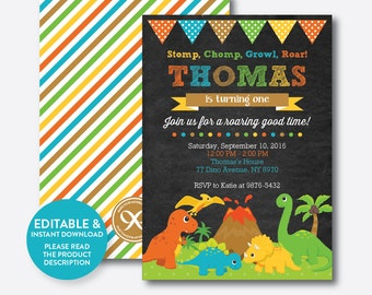 Instant Download, Editable Dinosaur Birthday Invitation, Dinosaur Invitation, Dino Invitation, Dinosaur Party Invitation,Chalkboard(CKB.295)