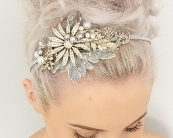 Stunning Silver Vintage Headpiece Antique Tiara Marcasite and Crystal