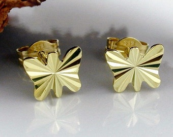 Small Butterfly Studs, 333 Gold