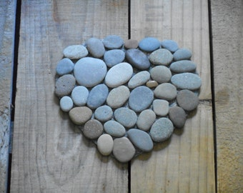 Heart shaped rock Trivet with smooth beach stones on durable felt with boda label on back 6 inches