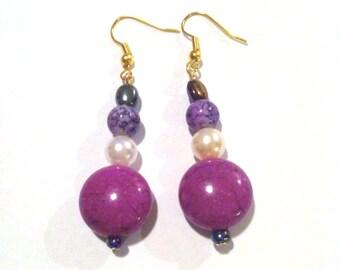 Purple Boho Bauble Earrings