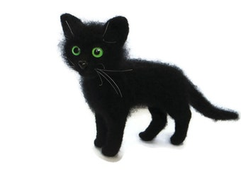 Needle Felted Cat. Black Cat. Kitten. Green/Yellow Eyes  .Soft Sculpture. Pet. Felted Animal. Cute Miniature. Made to Order.