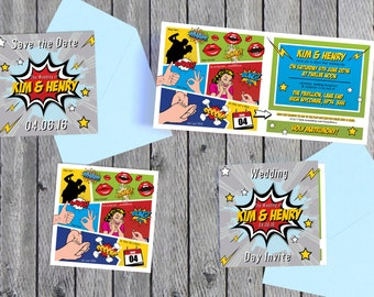 Superhero Comic Book Inspired | Save The Date & Wedding Invitations [Printable - Digital Only]