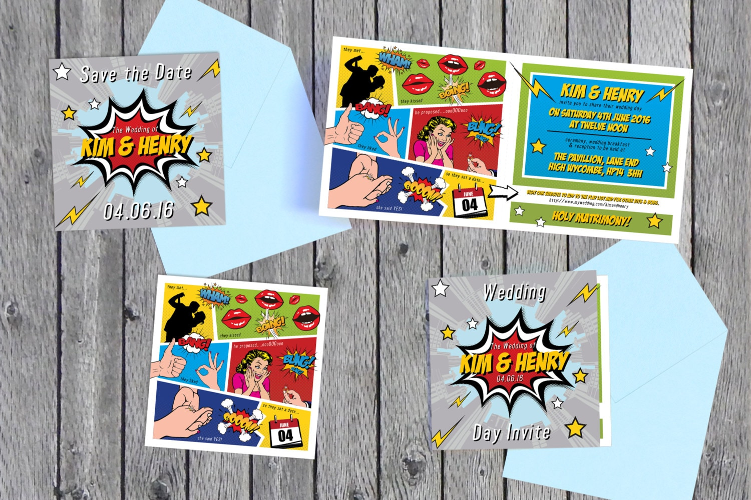 Superhero Comic Book Inspired Save The Date & Wedding