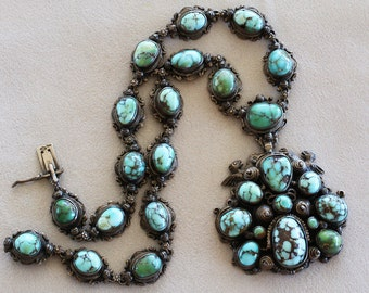 Antique Austro-Hungarian Blue Green Turquoise .800 Silver Necklace