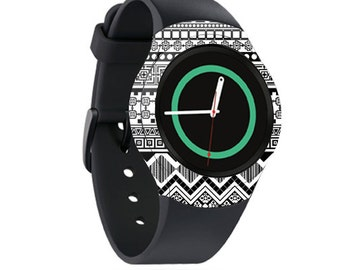 Skin Decal Wrap for Samsung Gear S2, S2 3G, Live, Neo S Smart Watch, Galaxy Gear Fit cover sticker Black Aztec