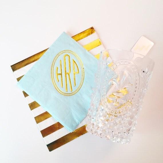 Circle monogrammed cocktail napkin, monogrammed napkins, foil stamped napkins, personalized napkins, bridal shower party napkins