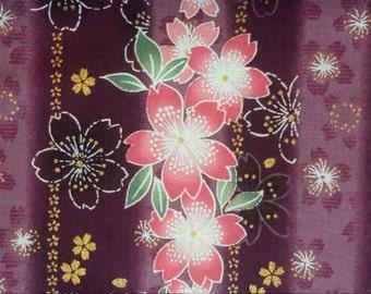 Cherry blossoms. Pink. Purple stripe. Japanese fabric. Japanese cotton fabric. Fabric by half yard(A bit more than half yard) /  half meter.